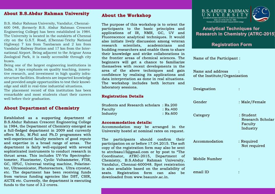 Department Of Chemistry Is Organizing A National Level Workshop On - Workshop brochure template